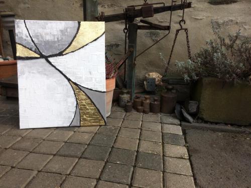 Acryl auf Holzkörper mit Blattgold 40x70cm